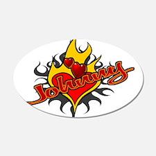 Johnny Heart Flame Tattoo 22x14 Oval Wall Peel