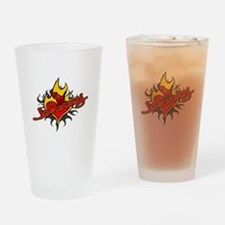 Johnny Heart Flame Tattoo Drinking Glass