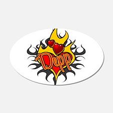 Depp Heart Flame Tattoo 22x14 Oval Wall Peel