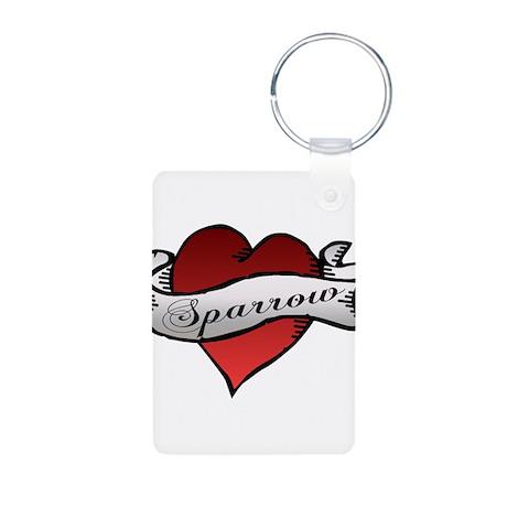 Sparrow Tattoo Heart Aluminum Photo Keychain
