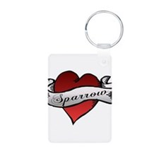 Sparrow Tattoo Heart Keychains