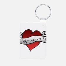 Sparrow Tattoo Heart Keychains