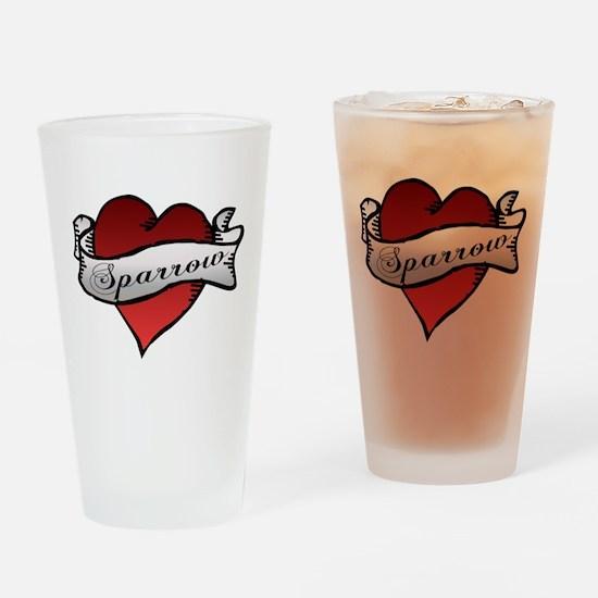 Sparrow Tattoo Heart Drinking Glass