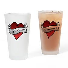 Johnny Tattoo Heart Drinking Glass
