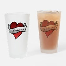 Johnny Tattoo Heart Drinking Glass