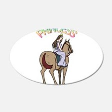 Brunette Princess and Pony 22x14 Oval Wall Peel