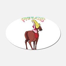 Blonde Princess and Pony 22x14 Oval Wall Peel