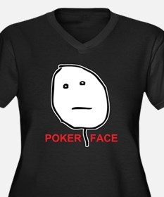 Poker Face Women's Plus Size V-Neck Dark T-Shirt