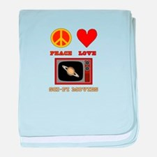 Peace Love Sci Fi Movies baby blanket
