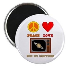 "Peace Love Sci Fi Movies 2.25"" Magnet (10 pack)"