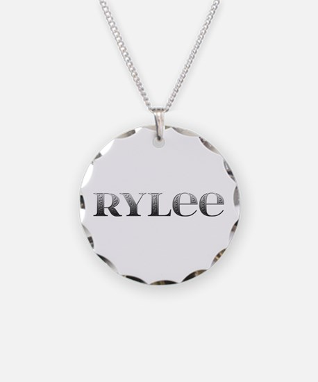 Rylee Carved Metal Necklace Circle Charm