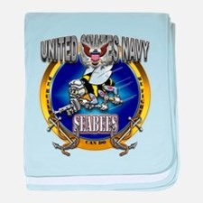 US Navy Seabees Anchors baby blanket