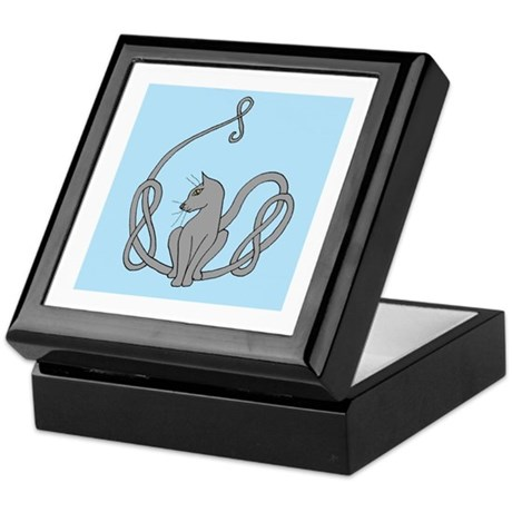 Celtic Grey Cat Keepsake Box