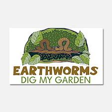 Garden Earthworms Car Magnet 20 x 12