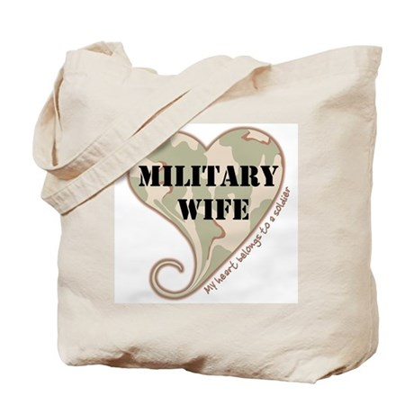 Military wife camouflage heart Tote Bag
