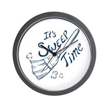 Blue and White Sweep Time Wall Clock