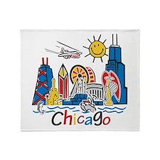 Chicago Cute Kids Skyline Throw Blanket
