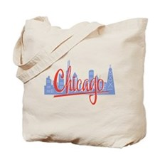 Chicago Red Script in Skyline Tote Bag
