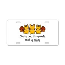 One by one, the squirrels Aluminum License Plate