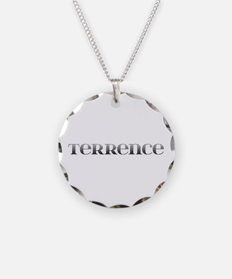 Terrence Carved Metal Necklace Circle Charm