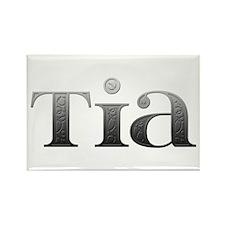 Tia Carved Metal Rectangle Magnet