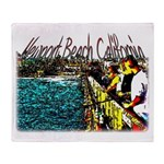 Newport beach pier fishing Throw Blanket