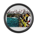 Newport beach pier fishing Large Wall Clock