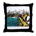 Newport beach pier fishing Throw Pillow