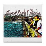 Newport beach pier fishing Tile Coaster