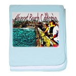 Newport beach pier fishing baby blanket