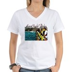 Newport beach pier fishing Women's V-Neck T-Shirt