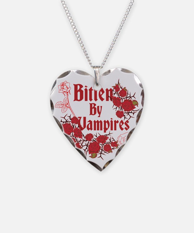 Bitten by Vampires w/Roses, D Necklace
