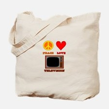 Peace Love Television Tote Bag
