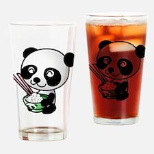 Panda Bear Eating Rice Drinking Glass