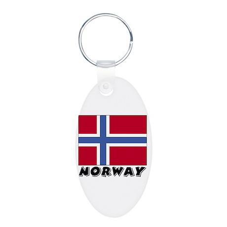 Norway Flag (World) Aluminum Oval Keychain
