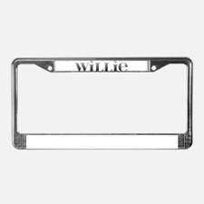 Willie Carved Metal License Plate Frame