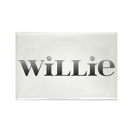 Willie Carved Metal Rectangle Magnet