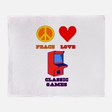 Peace Love Classic Games Throw Blanket