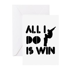 All I do is Win Snowboarding Greeting Cards (Pk of