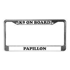 K9 On Board Papillon License Plate Frame