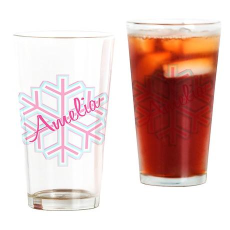 Snowflake Amelia Personalized Drinking Glass