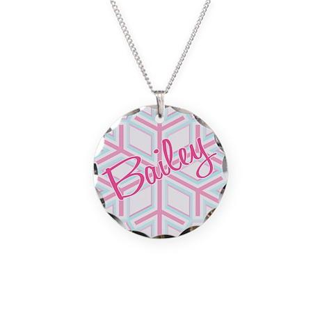 BaileySnowflake Personalized Necklace Circle Charm