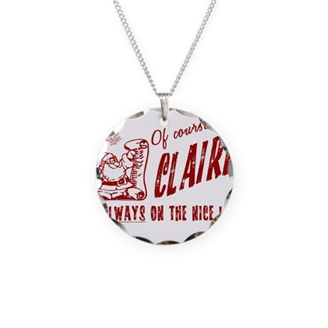 Nice List Claire Christmas Necklace Circle Charm