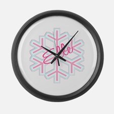 Elle Snowflake Personalized Large Wall Clock