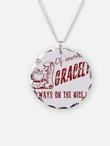 Nice List Gracelyn Christmas Necklace Circle Charm