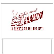 Nice List Gracelyn Christmas Yard Sign