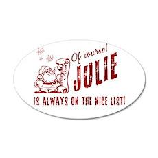 Nice List Julie Christmas 22x14 Oval Wall Peel