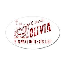 Nice List Olivia Christmas 22x14 Oval Wall Peel