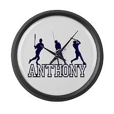 Baseball Anthony Personalized Large Wall Clock