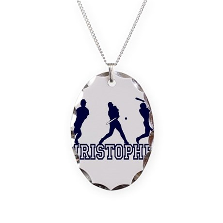 Baseball Christopher Personal Necklace Oval Charm